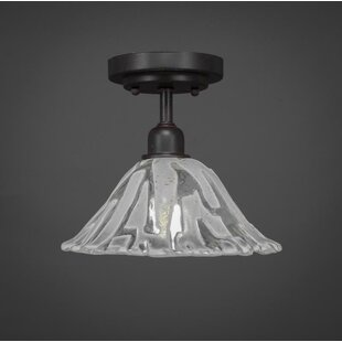 Kash 1-Light Italian Ice Glass Shade Semi-Flush Mount by Williston Forge