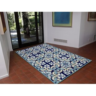 Demirhan Floral Tile Blue Indoor/Outdoor Area Rug