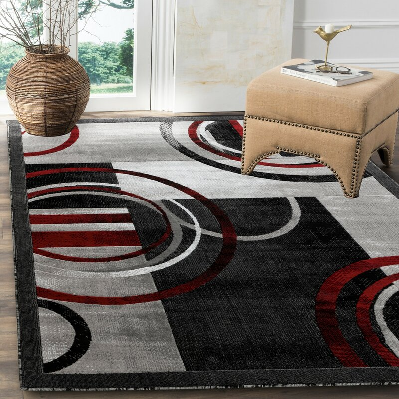 Orren Ellis Delana Abstract Gray Red Black Area Rug Reviews Wayfair