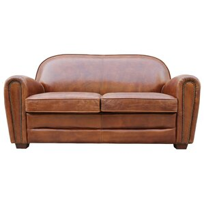 Paris Club Leather Loveseat by Pasargad