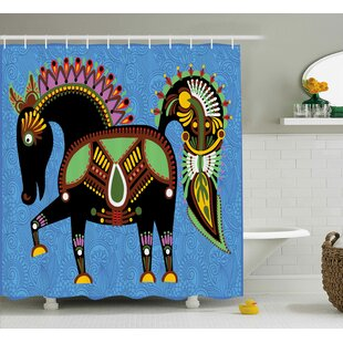 Augusta Folkloric Animal Figure Print Single Shower Curtain