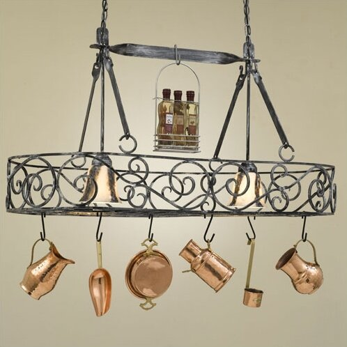 Hi lite authentic iron oval hanging pot rack with 2 lights reviews authentic iron oval hanging pot rack with 2 lights mozeypictures Gallery