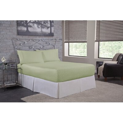 Bed Tite Solid 300 Thread Count Deep-Pocket 100% Cotton Sheet Set Size: Twin, Colour: Sage