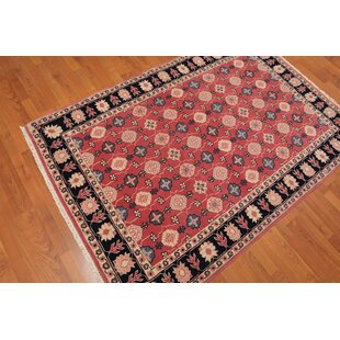 Shop For One-of-a-Kind Estella Traditional Persian Hand-Knotted 4'4 x 6'3 Wool Peach/Black/Beige Area Rug By Isabelline