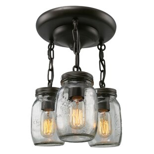 Mason Jar 3-Light Semi Flush Mount By LNC Home Ceiling Lights
