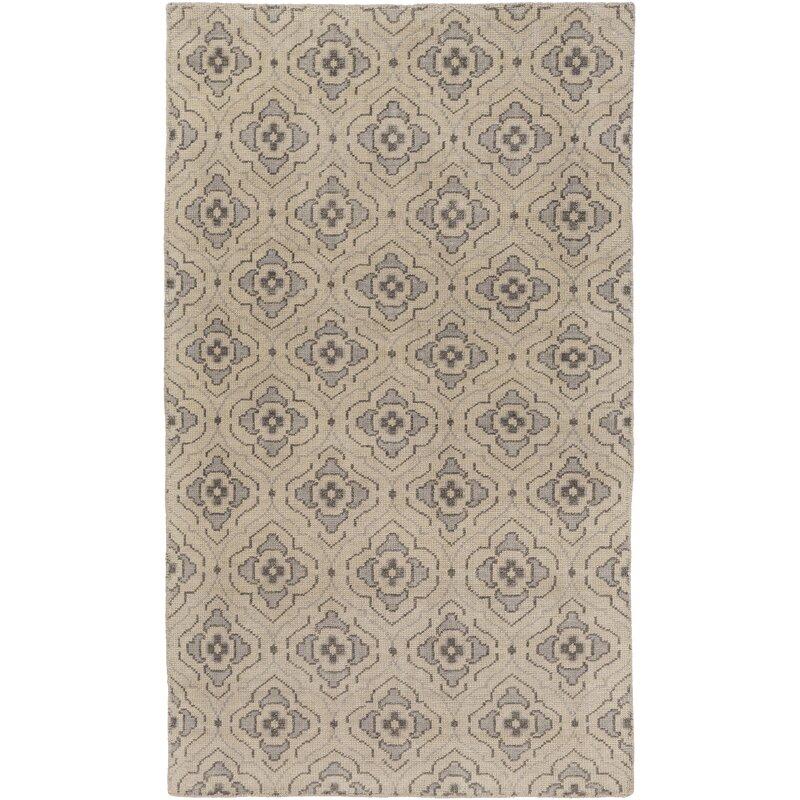 World Menagerie Boggess Geometric Hand Knotted Wool Beige Khaki Area Rug Wayfair
