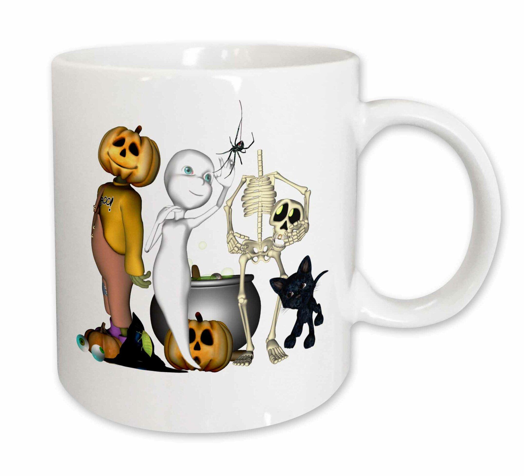 East Urban Home Cute Halloween Toons With Ghost Jack Skeleton Cat Coffee Mug Wayfair