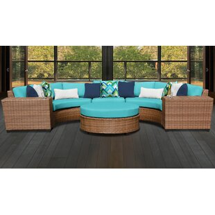 Medina Outdoor 6 Piece Sectional Seating Group Set with Cushions