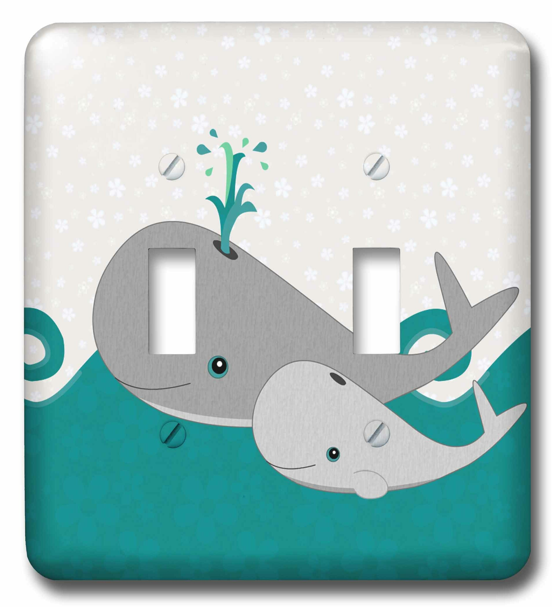 3drose Cute Whale And Baby On The Ocean 2 Gang Toggle Light Switch Wall Plate
