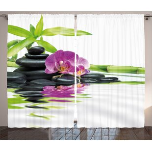 Spa Asian Relaxation with Zen Massage Stones Purple Orchid and a Bamboo Graphic Print & Text Semi-Sheer Rod Pocket Curtain Panels (Set of 2)