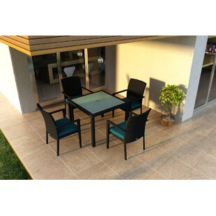 Azariah 5 Piece Sunbrella Dining Set with Cushions