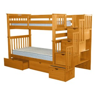 Tena Stairway Tall Twin Over Twin Bunk Bed with Extra Storage by Harriet Bee