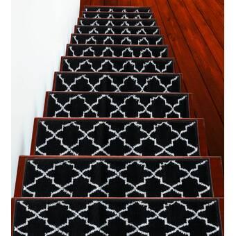 Longshore Tides Johns Trellis Design Navy Stair Tread Reviews Wayfair