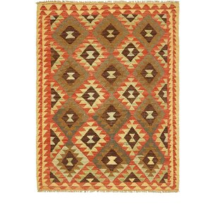 Best One-of-a-Kind Doorfield Hand-Knotted 3'8 x 4'9 Wool Red/Yellow/Green Area Rug By Isabelline