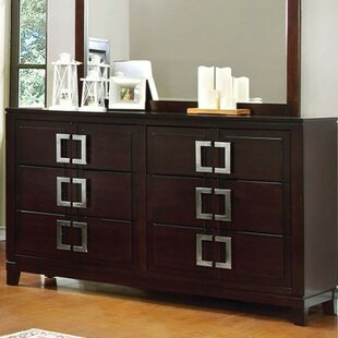 Orren Ellis Bouck 6 Drawer Double Dresser with Mirror