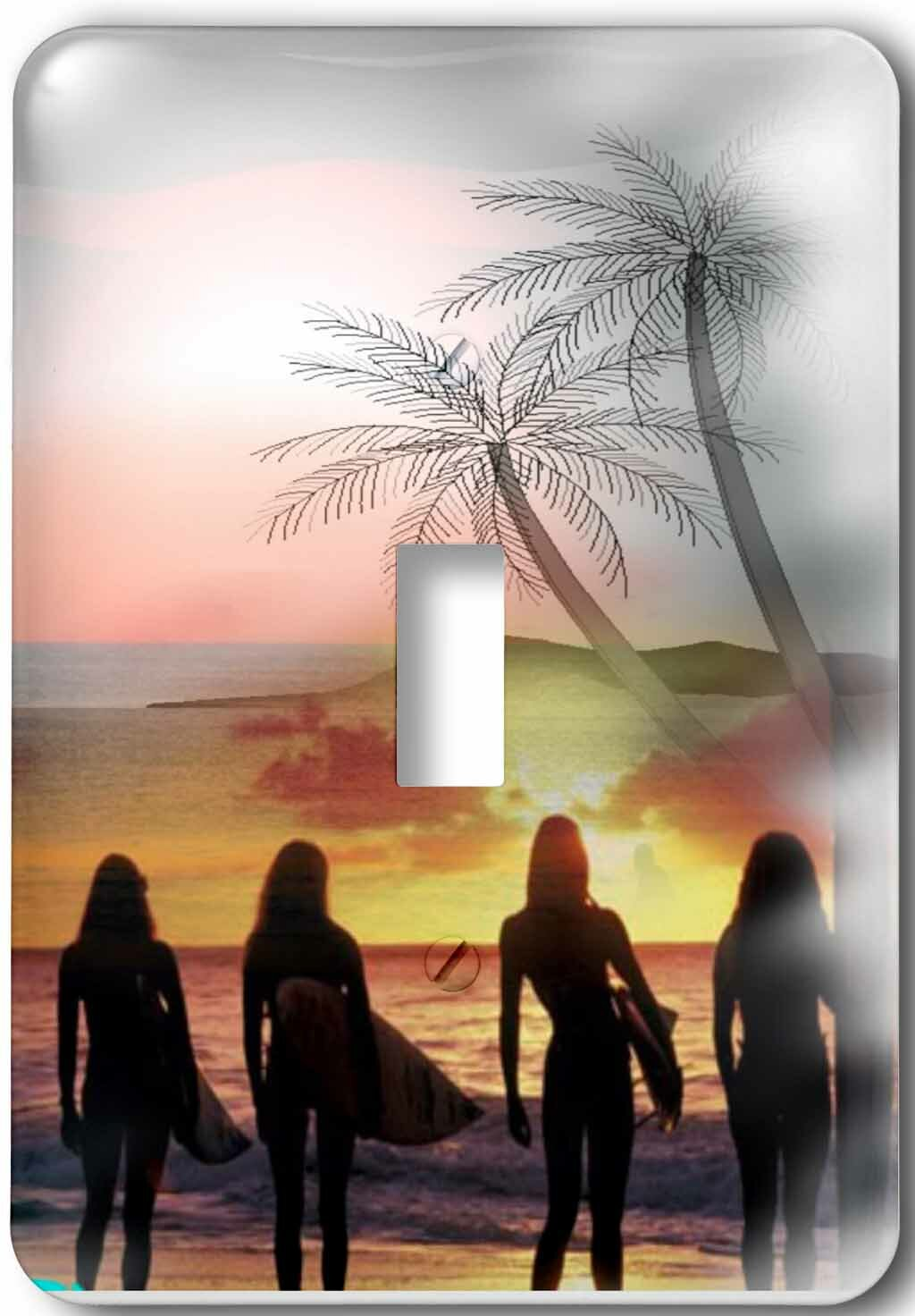 3drose Surfer Girls Beautiful Sunset And Last Wave 1 Gang Toggle Light Switch Wall Plate Wayfair