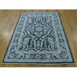 Best One-of-a-Kind Beaumont Tone-on-Tone Oriental Hand-Knotted 4' x 5'10 Wool Gray Area Rug By Isabelline