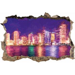 Beautiful Night Scene, Miami Florida Skyline Wall Sticker By East Urban Home