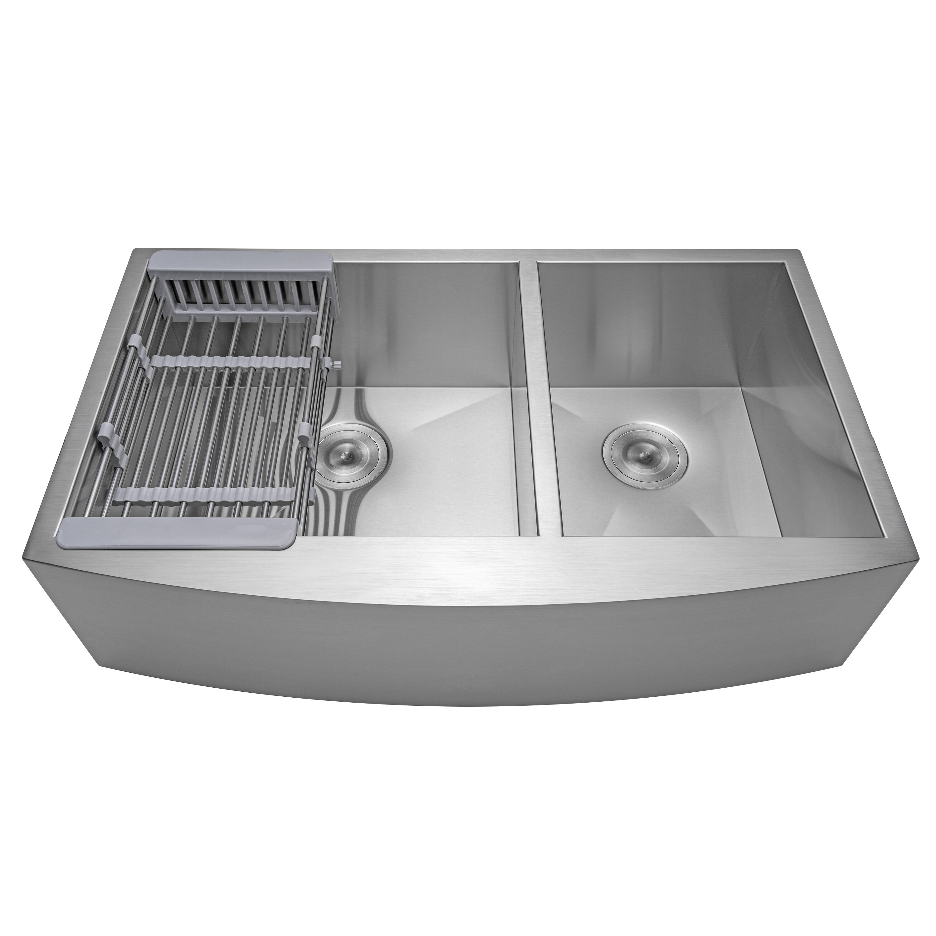 Akdy 33 L X 22 W Farmhouse Apron Kitchen Sink With Basket Strainer And Drain Assembly Reviews Wayfair