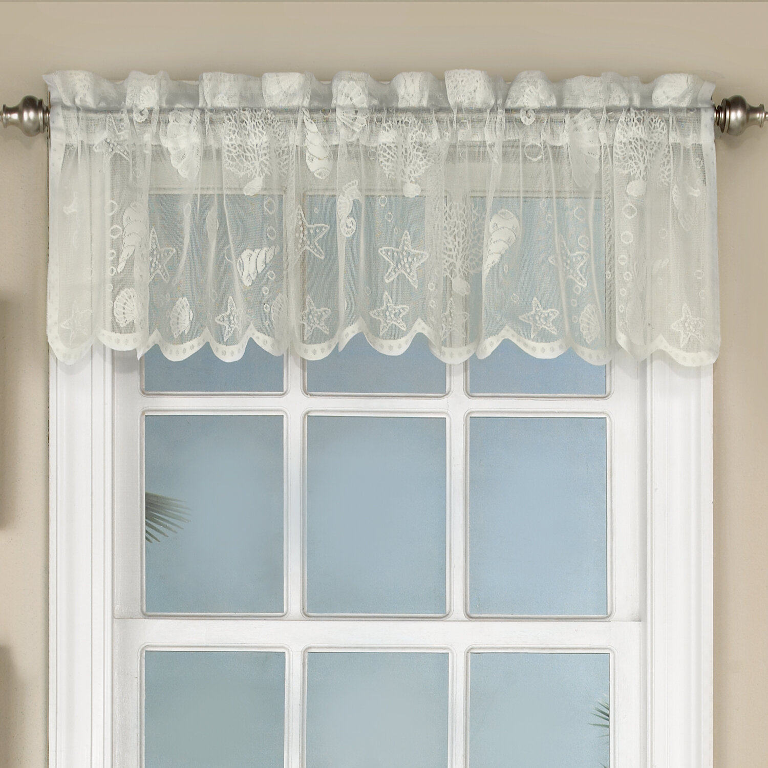 Highland Dunes Trinh Knitted Lace Kitchen 56 Window Valance Reviews Wayfair Ca