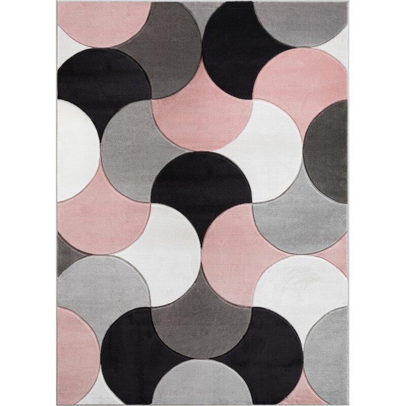 Well Woven Good Vibes Helena Modern Geometric Blush Pink Gray Area