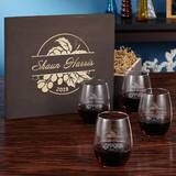 Coston Engraved 21 oz. Stemless Wine Glass (Set of 4) by Charlton Home