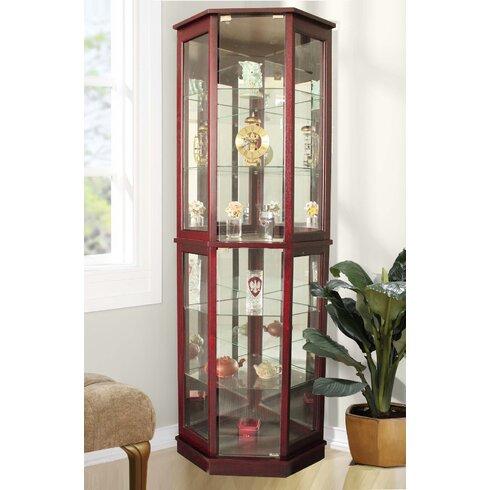Biali Lighted Corner Curio Cabinet