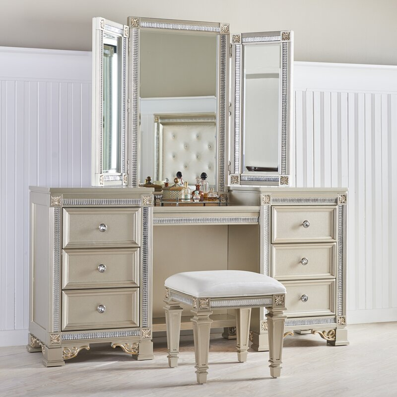 fairfax home collections tiffany vanity with mirror 14446 | tiffany vanity with mirror