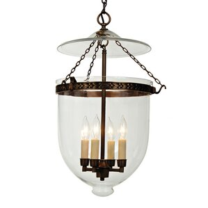 4-Light Extra Large Bell Jar Foyer Pendant