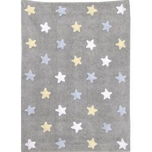 Tricolor Star Hand Tufted Grey Area Rug