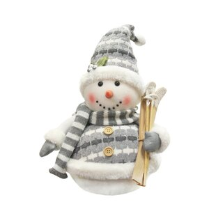 alpine chic sparkling snowman with skis christmas decoration - Ski Christmas Decorations