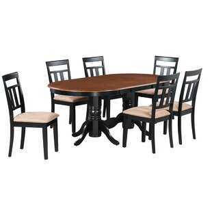 Jaylin 7 Piece Extendable Solid Wood Dining Set Alcott Hill