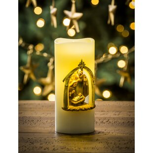 Wholesale Battery Operated LED Wax Holy Family Pillar Unscented Flameless Candle