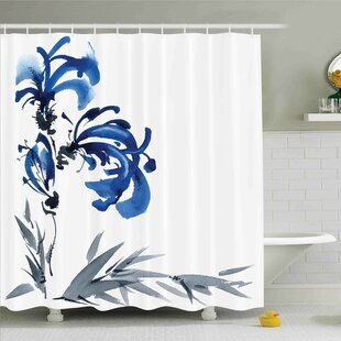 Comparison Traditional House Watercolors Eastern Floral Motif Brushstroke Effect Shower Curtain Set ByAmbesonne