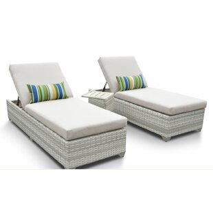 Rosecliff Heights Ansonia 3 Piece Chaise Lounge Set with Cushion