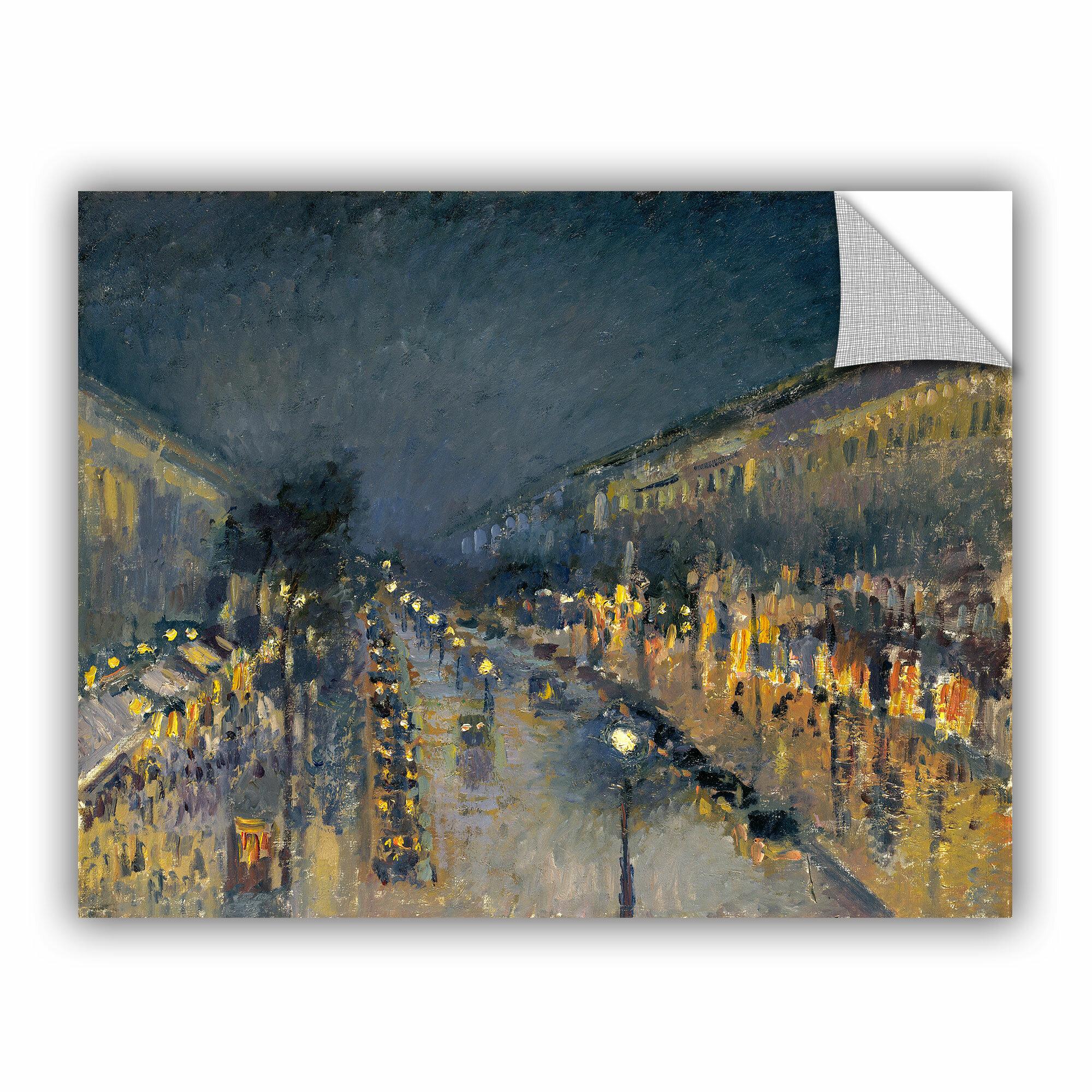 Artwall Bridgeman Camille Pissarro The Boulevard Montmartre At Night 1897 Wall Decal Wayfair