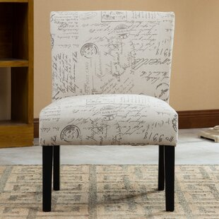 Charlton Home Steib English Letter Print Fabric Slipper Chair