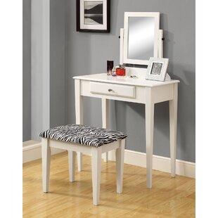 Monarch Specialties Inc. Vanity Set with Mirror & Zebra Print Stool