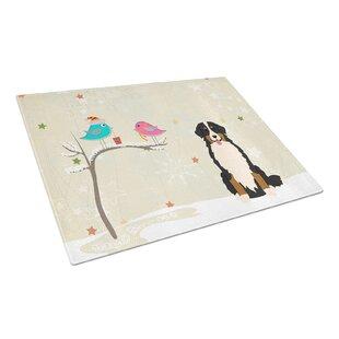 Christmas Presents Glass Bernese Mountain Dog Cutting Board ByCaroline's Treasures