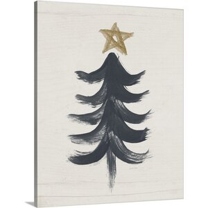 'Black And Gold Tree I' by Linda Woods Painting Print on Wrapped Canvas