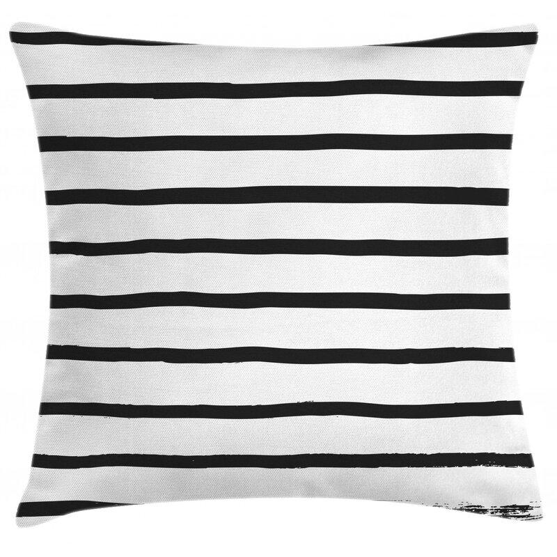 East Urban Home Minimalist Horizontal Paintbrush Indoor Outdoor Striped 28 Throw Pillow Cover Wayfair