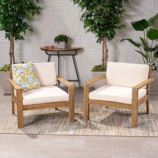 Enjoyable Gillum Outdoor Patio Chair With Cushions Set Of 2 Machost Co Dining Chair Design Ideas Machostcouk