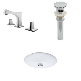 American Imaginations Ceramic Oval Undermount Bathroom Sink with Faucet and Overflow