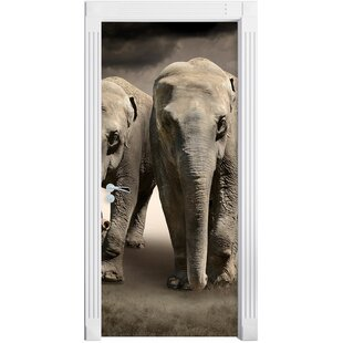 Two Proud Elephants In The Steppe Door Sticker By East Urban Home