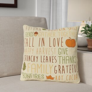 Harvest Word Collage Throw Pillow