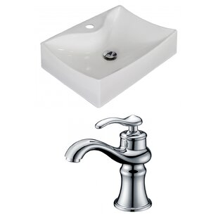Compare prices Ceramic Rectangular Vessel Bathroom Sink with Faucet By American Imaginations