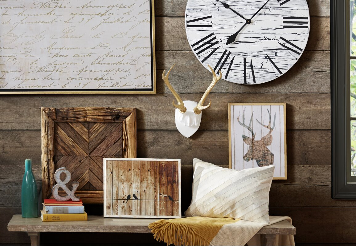 Darby home co oversized sycamore 28 vintage style crackle painted oversized sycamore 28 vintage style crackle painted wood wall clock amipublicfo Image collections