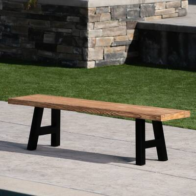 Lorell 42688 Sitting Bench Teak Table Benches Kitchen Dining Room Furniture