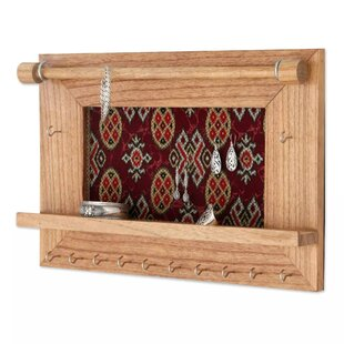 Check Prices Tan Wood Wall Mounted Jewelry Holder ByBloomsbury Market