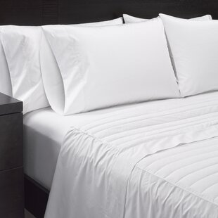 White Down Solid Color 370 Thread Count 100% Cotton Sheet Set